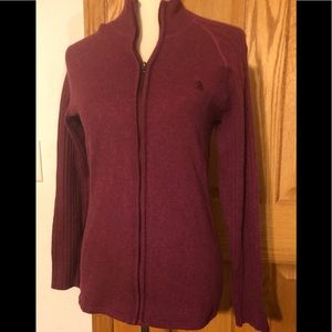 The North Face Burgundy Front Zip LS Sweater Sz. L
